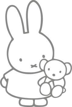 Muursticker Nijntje met beer Vinyl Record Art, Baby Stickers, Miffy, Japanese Poster, Window Art, Silhouette Art, Art Abstrait, String Art, Cute Drawings