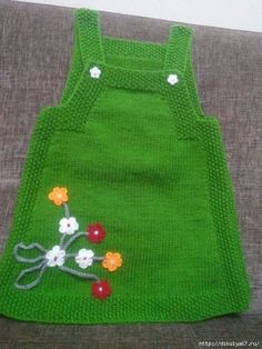 "HUZUR+SOKAĞI+(Yaşamaya+Değer+Hobiler) ""Nice knitted green dress with flowers for our little girls ."", ""Ravelry: Project Gallery for Junior pattern by DR Easy Knitting Patterns, Knitting For Kids, Baby Knitting, Crochet Baby, Knit Crochet, Knit Baby Dress, Knitted Baby Clothes, Knitted Hats, Knit Baby Sweaters"