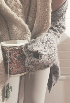 Cozy sweater and tea. Perfect.