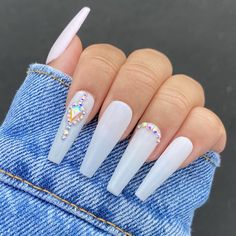 Acrylic Nails Coffin Pink, White Coffin Nails, Ballerina Acrylic Nails, Milky Nails, Nails Design With Rhinestones, White Nails With Design, Graduation Nails, Glow Nails, Acylic Nails