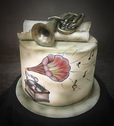 Handpainted Music Cake by  Sue Deeble