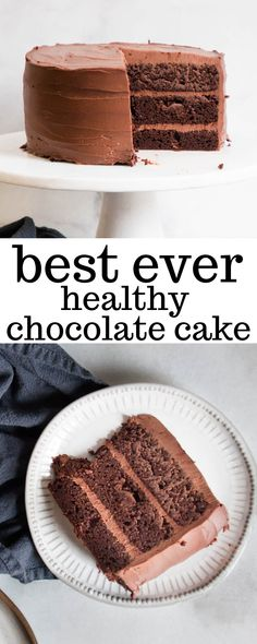 Paleo Chocolate Cake is made from simple healthy ingredients. It's gluten-free packed with nutrients and made with a delicious vegan frosting. It tastes so great that your friends and family will never guess that it's healthy! Mini Desserts, Vegan Desserts, Healthy Chocolate Desserts, Healthy Cake Recipes, Healthy Baking, Tart Recipes, Eating Healthy, Paleo Recipes, Free Recipes