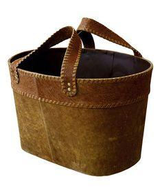 Loving this Leather Magazine Basket on #zulily! #zulilyfinds