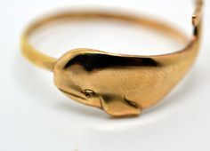 Gold Whale Ring Handforged Sterling Silver Ring 14K by fifthheaven