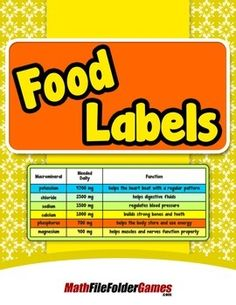 Food Labels {Mental Math Activity}  http://www.teacherspayteachers.com/Product/Food-Labels-Mental-Math-Activity-1548866