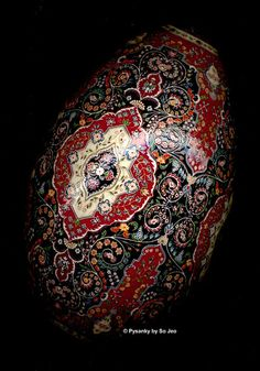 Part of the Persian Rug Series of Pysanky or Ukrainian Easter Eggs. Done on a rhea egg. By so_jeo. http://firsthemet.org