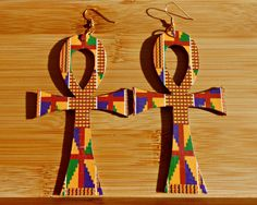 OVERSIZED Kente Ankh Earrings. $15.00, via Etsy.