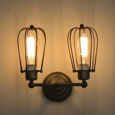 Hardware Grey Fixture Two-light Industrial Wall Sconces