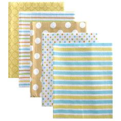 """Luvable Friends Patterns Receiving Blankets Flannel - 5 Pack - Yellow - Baby Vision - Babies """"R"""" Us"""