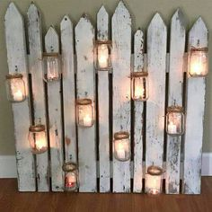 Rustic bling i could do this with the mason jarwagon wheel rustic picket fence with mason jars mason jars picket fence home decor rustic wedding decor patio decor country decor junglespirit
