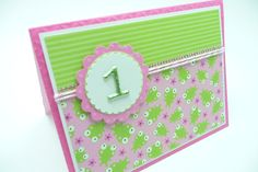 Girl's 1st Birthday Card, Little Girl's First Birthday Card, Pastel Pink and Lime Green Card, Handmade Paper Greeting Card. $4.00, via Etsy.