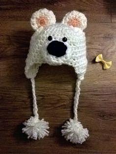 c4c7c24d481 Polar bear crochet baby hat for boy or girl. by poucel ideas.  polarbear