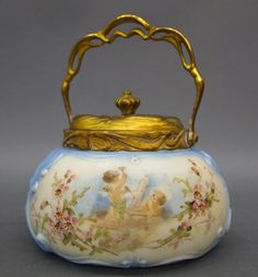 Wavecrest Turn of the Century Art Glass Biscuit Barrel with Hand Painted Cherubs and Floral Panels