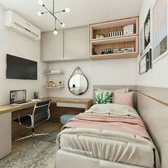The post Functional and beautiful room! Domum Architecture Project … appeared first on . Small Room Design Bedroom, Teen Bedroom Designs, Small Room Decor, Room Ideas Bedroom, Home Room Design, Bedroom Decor, Bedroom Layouts, Cozy Room, Room Inspiration