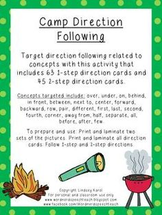 Target direction following related to concepts with this activity that includes 63 1-step direction cards and 45 2-step direction cards.