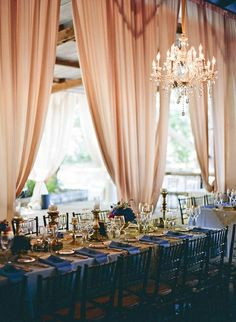 chic wedding reception colors. dark royal blue, peach rose, and gold.