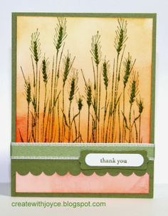 05 25 2014; Thank You card; Hero Arts Tall Wheat stamp
