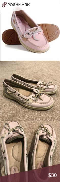 Pink Angelfish Sperrys Size 7. Worn slightly. The color is duller compared to the picture. Still in great condition, just alittle flat due to being in the closet for awhile. Going to college in the fall, need everything gone by then! Make an offer and save on bundles! I always ship out next day. Sperry Top-Sider Shoes Flats & Loafers