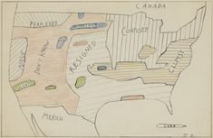 "Saul Steinberg, ""Statistics U.S.A."" (1981), ink over pencil, and colored pencil on paper, 14.5 x 21.5 inches"