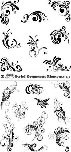 Vectors - Swirl Ornament Elements 13 2 AI |  TIFF Preview | 16 MB