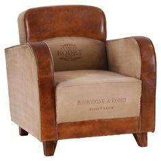 Leather & Canvas Pinot Noir Arm Chair | ACHICA