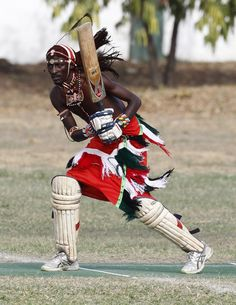 Maasai Warriors playing cricket