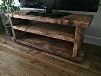 Solid Rustic Handmade Pine TV Unit, finished in a Chunky Country Oak (MK2) (Dark Oak, 140cm Long)