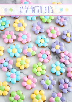 Daisy Pretzel Bites – pretzels, white chocolate and pastel M&M's candies make this sweet and salty snack a welcomed spring treat!