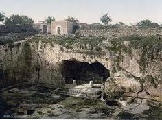 Jeremiahs Grotto, Israel - just outside the north wall of Jerusalem, where tradition says Jeremiah wept bitter tears and composed the book of Lamentations. The grotto is under Golgotha, the same hill on which Jesus was crucified. Thus, the suffering prophet wept where later the suffering Savior died.