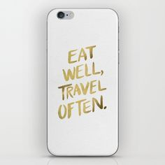 Eat+Well+Travel+Often+on+Gold+iPhone+&+iPod+Skin+by+Cat+Coquillette+-+$15.00