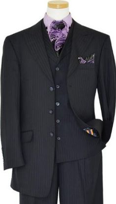Masteloni Collection Black With Lavender Micro Dotted Pinstripes Vested Suit