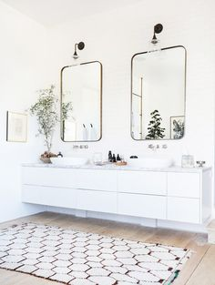 Modern white bathroom with white floating vanity Bathroom Trends, Bathroom Inspo, Bathroom Inspiration, Bathroom Ideas, Bathroom Goals, Bathroom Designs, Bathroom Remodeling, Remodel Bathroom, Restroom Remodel