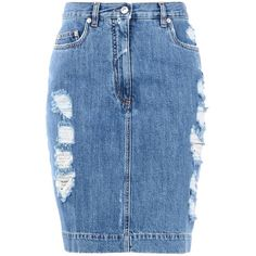 Moschino Knee Length Skirt (470 AUD) ❤ liked on Polyvore featuring skirts, blue, blue skirt, zipper skirt, moschino, cotton skirts and knee high skirts