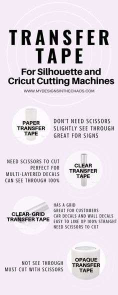 Transfer Tape 101 -Transfer Tape helps you to move vinyl from one place to another and stay in the exact design. Join us as we talk about the different types of transfer tape for your Silhouette or Cricut cutting machine. My Designs In the Chaos Transfer Tape For Vinyl, Transfer Paper, Stencil Vinyl, Cricut Vinyl, Cricut Air, Stencils, Cricut Help, Cricut Tutorials, Cricut Ideas