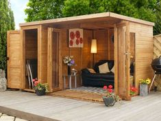 Shed Plans - 10 x 8 Waltons Contemporary Garden Room Wooden Summer House with Side Shed - Now You Can Build ANY Shed In A Weekend Even If You've Zero Woodworking Experience! Backyard Studio, Garden Studio, Studio Shed, Studio Room, Outdoor Rooms, Outdoor Living, Outdoor Sheds, Wooden Summer House, Summer Houses