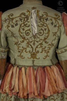 Louis Bercut, costume for Monsieur Jourdain, in Molière - Lully's Le Bourgeois Gentilhomme play, directed by Jean-Luc Boutté, La Comédie Française, 1986, silk, padded gold embroidery, gold trim, silk ribbons