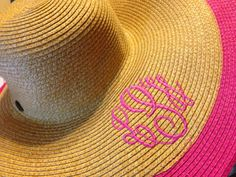 Con monograma sombrero de ala ancha sombrero para el sol Sombreros Para El  Sol 8e518fb5662