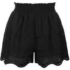 Topshop Short à smocks et crochet Jean Topshop, Topshop Shorts, Cotton Shorts, Lace Shorts, Short Shorts, Smocks, Embroidered Shorts, Scalloped Hem, Boho Outfits