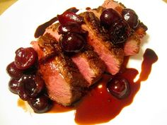 Elsa Cooks: Sauteed Duck Breasts with Cherry Sauce Wild Duck Recipes, Roasted Duck Recipes, Chef Pepin, Cherry Sauce Recipe, Roasted Duck Breast, Duck Breast Recipe, Cherry Compote, Culinary Classes, Roast Duck