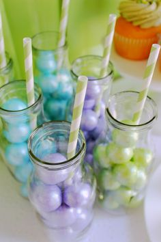 """Tortilly Adorable"" Turtle Party {+ Awareness for Plagiocephaly & Torticollis} Pearlized purple, lime, and turquoise. Candy Drinks, Fun Drinks, Mini Milk Bottles, Turquoise Party, Best Party Food, Drink Table, Turtle Party, Incredible Recipes, Spring Party"