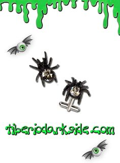 SPITHRE CUFFLINKS  Gemelos de arañas con abdomen de cristal swarovski, de Alchemy Gothic. Material: peltre inglés (aleación de estaño y cobre).  TALLA: ÚNICA
