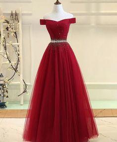 Burgundy tulle off shoulder long prom dress, burgundy evening dress #longpromdresses