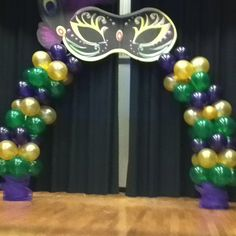 #mardigras banquet decor #balloon arch This was my first attempt at a balloon arch. Very proud.