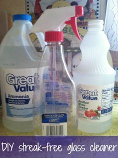 DIY Streak-Free Glass Cleaner been using this for years. Almost equal parts of <water, vinegar, and >ammonia. **do not use cloths treated with any kind of fabric softener** It will leave the glass streaked and you frustrated.