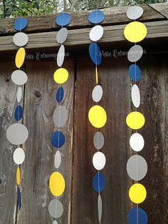 Paper Circle Garland - Yellow, Navy Blue, and Gray by PetiteExtravaganzas  Train Party Decoration