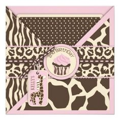 Pink Safari Giraffe & Cupcake Second Birthday Custom Invitations