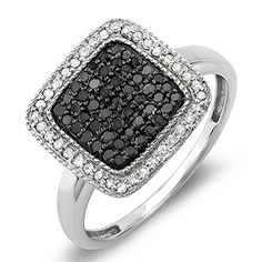 0.50 Carat (ctw) Sterling Silver Round Black & White Diamond Ladies Cocktail Ring 1/2 CT (Size 7) by DazzlingRock Collection