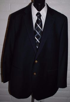 Ralph Lauren Mens Blazer 46L Black Wool 2 Button Notched Lapel Single Vent #RalphLauren #TwoButton