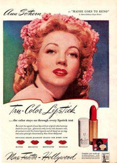Ann Sothern for Max Factor Vintage Makeup Ads, Vintage Beauty, Vintage Ads, Hollywood Fashion, Old Hollywood, Ann Sothern, 80s Makeup, Beauty Ad, Color Harmony