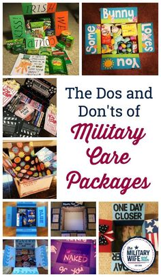Essential List of Military Care Package Dos and Don'ts Learn the best ways to decorate a care package, how to get free care package materials, what and what not to send in a military care package and see our top puns and themes for care packages.Learn the Soldier Care Packages, Deployment Care Packages, Military Care Packages, Navy Care Packages, Soldier Care Package Ideas, Care Packages For Troops, Care Package For Military, College Care Packages, Homeless Care Package